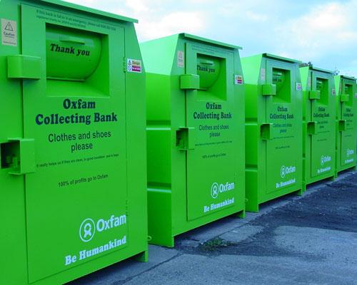 Oxfam Recycling bin